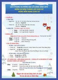 Chương trình Phụng Vụ - Giờ Lễ Dịp Đại Lễ Giáng Sinh 2014 Gx TTS