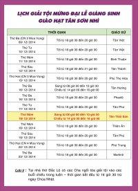 Lịch Giải Tội Mùa Vọng 2014 Giáo Hạt Tân Sơn Nhì