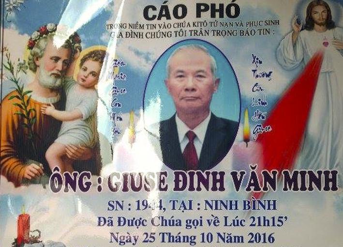 Cáo Phó Ông Trùm Giuse Đinh Văn Minh (Phó BĐH Giáo Khu V Gx TTS)