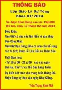 Thông báo Khai Giảng Lớp Giáo Lý Dự Tòng khóa 1/2014